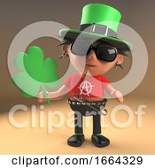 3d Punk Rocker Cartoon Character Dressed In Irish Green Holding A Shamrock Leaf 3d Illustration