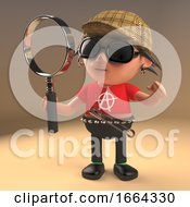 3d Cartoon Punk Rock Character Wearing A Deerstalker And Holding A Magnifying Glass Like A Famous Detective 3d Illustration