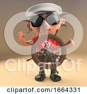3d Funny Cartoon Punk Rock Character Dressed In Sailors Cap With Ships Wheel 3d Illustration