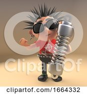 Cartoon 3d Punk Rocker Character Holding An Automobile Shock Absorber 3d Illustration