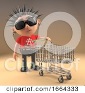 3d Punk Rock Cartoon Character Pushing A Shopping Trolley 3d Illustration