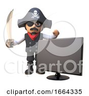 Cartoon 3d Pirate Captain Character Waves His Cutlass Next To A Widescreen Hdtv Television Monitor 3d Illustration