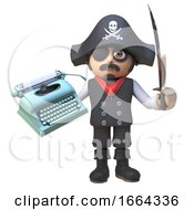 Pirate Captain Character In 3d Waves His Cutlass While Holding An Old Typewriter 3d Illustration