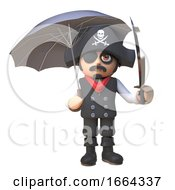 3d Cartoon Pirate Captain Character Shelters From The Rain Under An Umbrella 3d Illustration