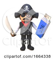 3d Pirate Captain Cartoon Character Waves His Cutlass And Holds A USB Thumb Drive Memory Stick 3d Illustration