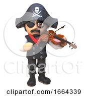 3d Pirate Captain Cartoon Character Plays The Violin To Calm His Nerves 3d Illustration