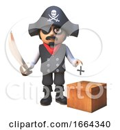 Poster, Art Print Of 3d Pirate Captain Cartoon Character With Cutlass Casts His Vote For The Election In A Ballot Box 3d Illustration