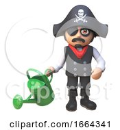 3d Pirate Captain Cartoon Character Waters The Garden With A Watering Can 3d Illustration by Steve Young