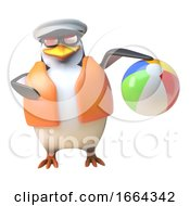 3d Penguin Sailor Captain Character Playing With A Beach Ball 3d Illustration