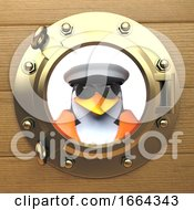 3d Penguin Sailor Captain In Sailors Hat Looking Out Of A Brass Porthole Port Hole 3d Illustration