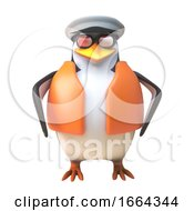 3d Penguin Sailor Captain Standing Ship Shape And Ready 3d Illustration