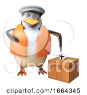 Poster, Art Print Of 3d Penguin Sailor Captain Character Casting His Vote In The Election 3d Illustration