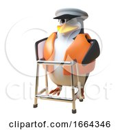 3d Penguin Sailor Captain Character Walking With The Aid Of A Zimmer Frame 3d Illustration