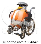 3d Penguin Sailor Captain Character Using A Wheelchair For Mobility 3d Illustration