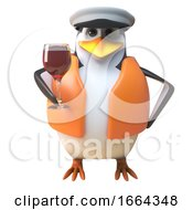 3d Penguin Sailor Captain Character Drinking A Glass Of Red Wine 3d Illustration