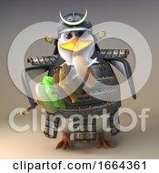 3d Samurai Penguin Warrior Character With A Cheeseburger On His Katana Sword 3d Illustration