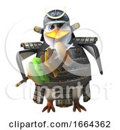 Cartoon 3d Penguin Samurai Warrior In Armour And Holding A Sword With Beef Burger Ingredients 3d Illustration