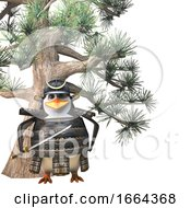3d Mighty Penguin Samurai Warrior Cartoon Character With Sword Standing In Front Of Conifer Pine Tree 3d Illustration