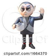 Poster, Art Print Of 3d Cartoon Dracula Vampire Monster Waves And Drinks His Tea From A Cup 3d Illustration