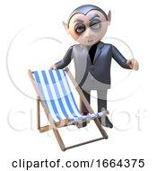 Funny 3d Cartoon Vampire Dracula Character Offers His Deckchair 3d Illustration