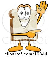 Slice Of White Bread Food Mascot Cartoon Character Waving And Pointing