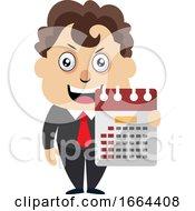 Young Business Man Holding Calendar