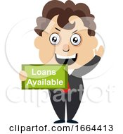 Young Business Man With Loans Available Sign