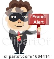 Young Business Man With Fraud Sign