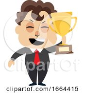 Young Business Man Holding Trophy