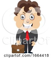 Young Business Man With Suitcase
