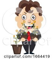 Young Business Man Holding Flowers