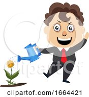 Young Business Man Watering Plant