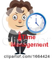 Young Business Man Holding Clock