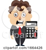 Young Business Man With Calculator