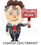 Young Business Man With Team Work Sign