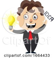 Young Business Man With Lighting Bulb