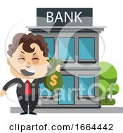 Young Business Man With Money At The Bank