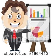 Poster, Art Print Of Young Business Man With Table Analytics