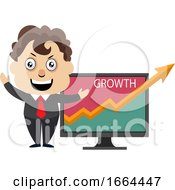 Young Business Man Showing Growth Analytics