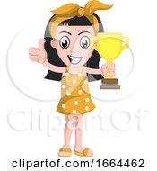 Girl Holding Trophy