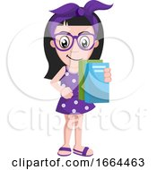 Poster, Art Print Of Girl With Books
