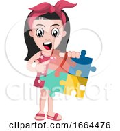 Poster, Art Print Of Girl With Puzzle