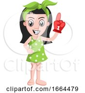 Girl With Big Fan Glove