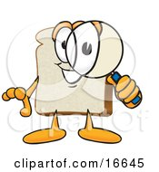 Slice Of White Bread Food Mascot Cartoon Character Peering Through A Magnifying Glass