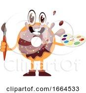 Poster, Art Print Of Donut Holding Paintbrush