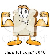 Slice Of White Bread Food Mascot Cartoon Character Flexing His Strong Bicep Arm Muscles