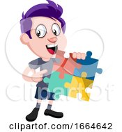 Poster, Art Print Of Boy Holding Puzzle