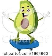 Avocado Riding Skateboard