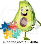 Poster, Art Print Of Avocado With Puzzle