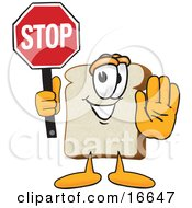 Slice Of White Bread Food Mascot Cartoon Character Holding A Stop Sign With One Hand Out